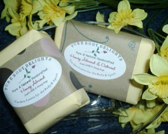 SPECIAL Pure Body Delights Soap--Goat's Milk Oatmeal Honey and Almond Moistuizing Soap Bar--Pure and Natural--Oh so good for you
