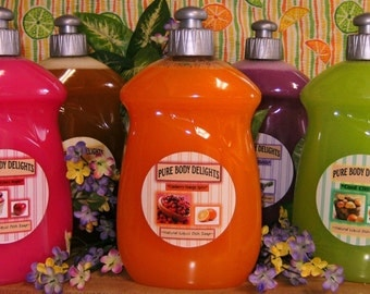 Natural Aromatherapy LIQUID DISH SOAP---Made from scratch--Pick your Favorite Scent--Big 18 oz bottle