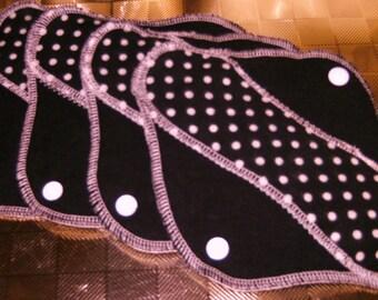 Black Polka Dot Bikini Complete Set--8 inch-- Comfy Cloth Sanitary Pad--Panty Liners--Feminine Pads Set--Plus 1 pad FREE