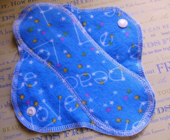 Blue Love Peace Stars--8 inch--Soft Comfy Cloth Sanitary Pad--Panty Liner--Feminine piPad--BUY 3 get 1 FREE
