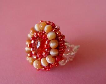 Carnelian Oval Stone Embellished Ring by VZuniga Designs