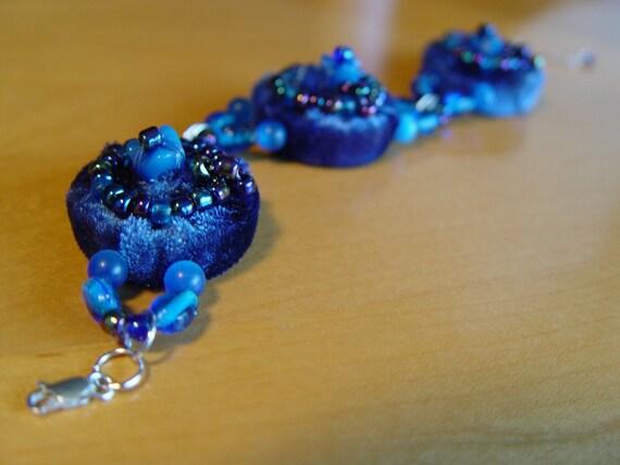 Blue Velveteen Recycled Bottle Cap Embellished Bracelet handmade by VZuniga Designs