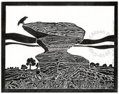 CROW & ANVIL lino print bird geology yorkshire landscape