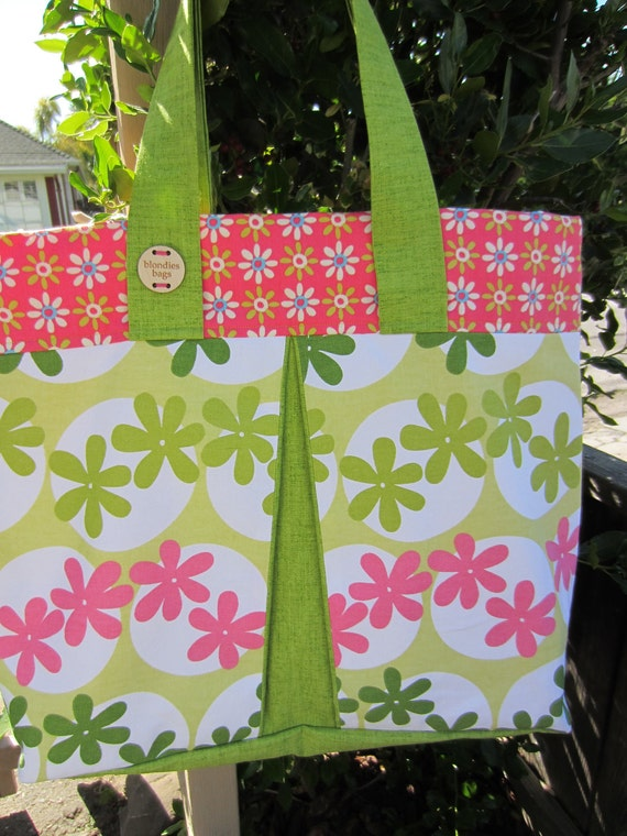 """Reserve Georgene SUMMER SALE """"Summer of '69 Hand Sewn Oversized Tote Bag Hot Pink & Lime Green"""