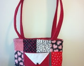 Red, Black, and white handbag purse with lady bugs