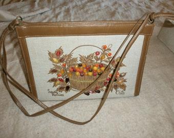 Vintage ENID COLLINS Jeweled Saucy Berries Purse Leather Handbag Jewels Autumn