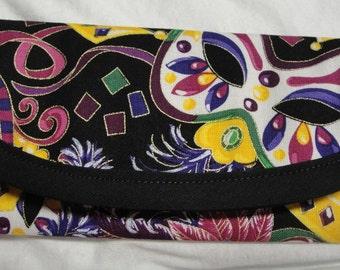 1 - 7x3 Wallet Mardi Gras Mask, OR 1 Golden Crown, Cotton Fabric, Money Wallet, Clutch envelope