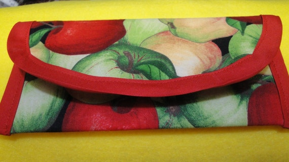 Pouch 8 x 4 Red, Green, Apples cotton fabric, Wallet, Clutch, Envelope, bags and purses for Money gift, Coupons, Strawberry Button added