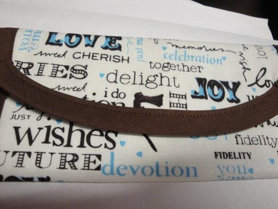 Wallet, Clutch. bag, Wedding Words Fabric