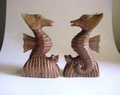 Vintage Seahorse Folk Art Wooden Bookends