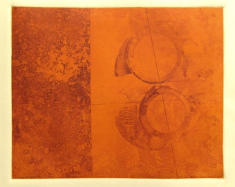 Abstract Print in Red Orange, Hand Pulled Original