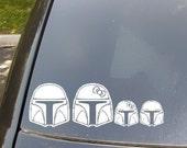 Mandalorian Family Car Sticker...Now with Boba Cat and Boba Fetch