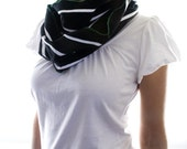 Remnant Black and White Striped Knit Scarf