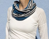 Remnant Turquoise with Black/White Stripes Scarf