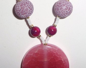 Pink Stone Necklace - Pink Agate Necklace - Pink Shell - Pink and White - Pink Beaded Necklace (clearance/originally 19.99)
