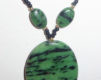 Green Stone Necklace - Green and Black - Zoisite Necklace - Green Beaded Necklace (sale/originally 19.99)