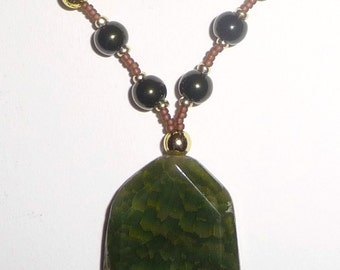 Green Stone Necklace - Green Beaded Necklace - Green Gold Brown (sale/originally 19.99)