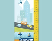 "Growth Chart Height Chart Personalized Canvas  for Children- Busy City- 13"" X42"" Inches"