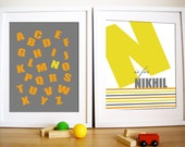 Modern Nursery Art prints, Set of 2- Bold Type , 5X7, Other sizes available