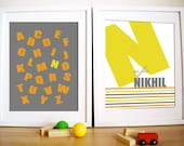 Modern Nursery Art prints, Set of 2- Bold Type , 11X14, Other sizes available