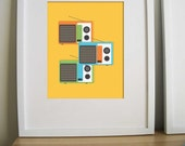 Retro Vintage Art Print- Cassette Tape , LP and Transistor - Remember the Time 8.5X11 Inches, Set of three