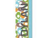 "Growth Chart Height Chart Personalized Canvas  for Children- Oval Pattern- 13"" X42"" Inches"