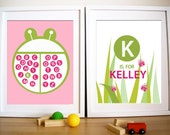 Modern Baby Girl Nursery Art print Set of 2- My Ladybugs ,11X14 Inches, Other sizes available