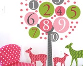 Tree Decal, Numbered Tree And Deers, Childrens Room Artwork, Large Decal