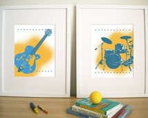 Art Prints for Playroom, Art for Nursery, Kids rooms, GUITAR and DRUMS - Set of 3 - 8.5X11 Inches, other sizes