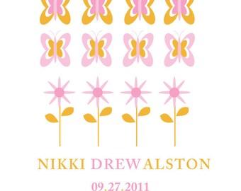 Custom Birth Announcement - Baby Girl - Butterfly