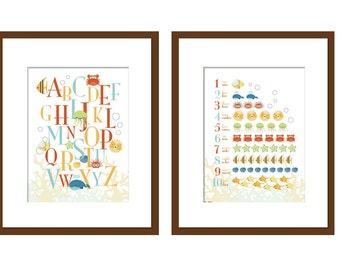 Set of 2 Prints - Art for Child's room or Nursery - ABC and 123 Deep Blue Sea - 8.5X11
