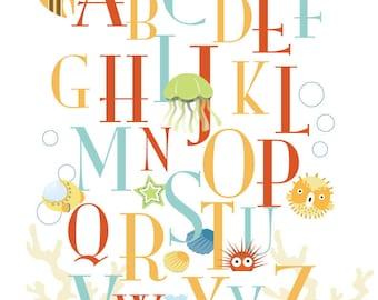Art for Child's room or Nursery - ABC Deep Blue Sea - 8x10