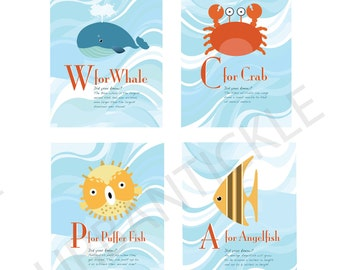 Set of 4 prints -Educational Art for Child's room or Nursery - Deep Blue Sea Creatures - 8X10