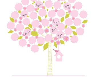 Custom Signature Tree Baby Shower Poster -BirdHouse - 16X20
