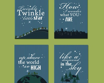 Nursery Kids Wall Print - Set of 4 - Twinkle Twinkle - 8.5X11 Inches, other sizes available