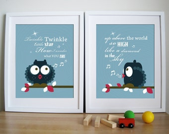 Owl Nursery Prints Set of 2 - Twinkle Twinkle Whistling Owl - 11X14 Inches, other sizes