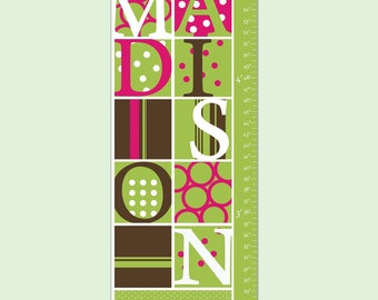 "Personalized Growth Chart for Children- Graphic Grid Blocks 13"" X42"" Inches"