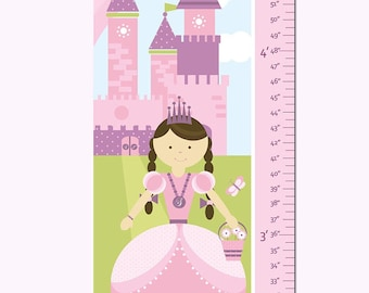 "Princess Growth Chart Personalized Canvas- Princess and Castle- 13"" X42"" Inches"