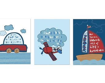 Nursery Wall Art for Children, SET of 3, Inspirational, Sail Boat, Plane and Car, 5X7, Rustic Nursery Art