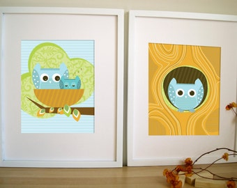 Art for Children, OWL Art , Set of 2,  Owl in Hollow and Nest, 8X10, Other Sizes