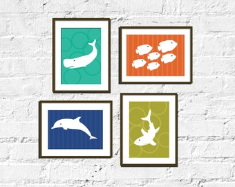 Modern Art for Child's room or Nursery - Set of Four-  8X10  -Sea Dwelling