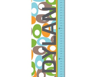 """Growth Chart Height Chart Personalized Canvas  for Children- Oval Pattern- 13"""" X42"""" Inches"""