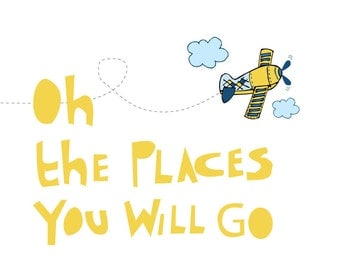 Personalized Print  for Nursery -Go Places -11X14 Inches