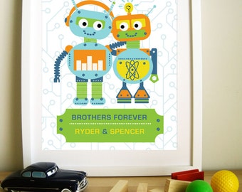 Modern Robot Artwork for Children, Brothers Forever, 8.5X11, Other Sizes