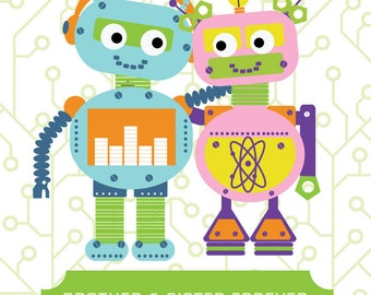 Robots Artwork for Children,  Brother and Sister Forever, 11X14, Other Sizes