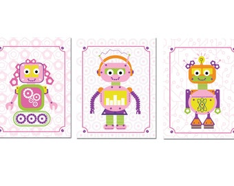 Robot Artwork for Girls, Set of 3,  Robots Girl Trio, 8.5X11 Inches, Custom Sizes and Colors