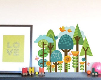 Wall Decals for Kids, ForestScape, SMALL, Custom Colors and Sizes