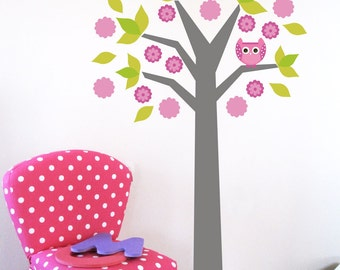 Wall Decals for Kids- Baby Owl and Floral Tree- LARGE, More custom options available