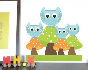 Owl Decal for children rooms, Owl Family on Mushrooms, Custom colors and sizes available
