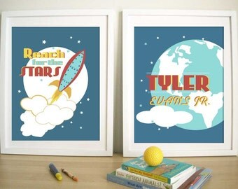 Rocket Artwork for kids, Print For Children-Rocket and Stars - Set of 2 - 8.5X11 Inches,  Space prints